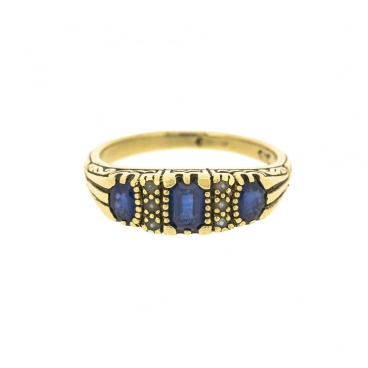 Victorian Style Sapphires and Seed Pearl Ring