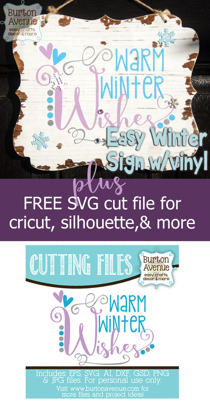 Winter Sign plus FREE SVG CUT FILE for Cricut, Silhouette and more