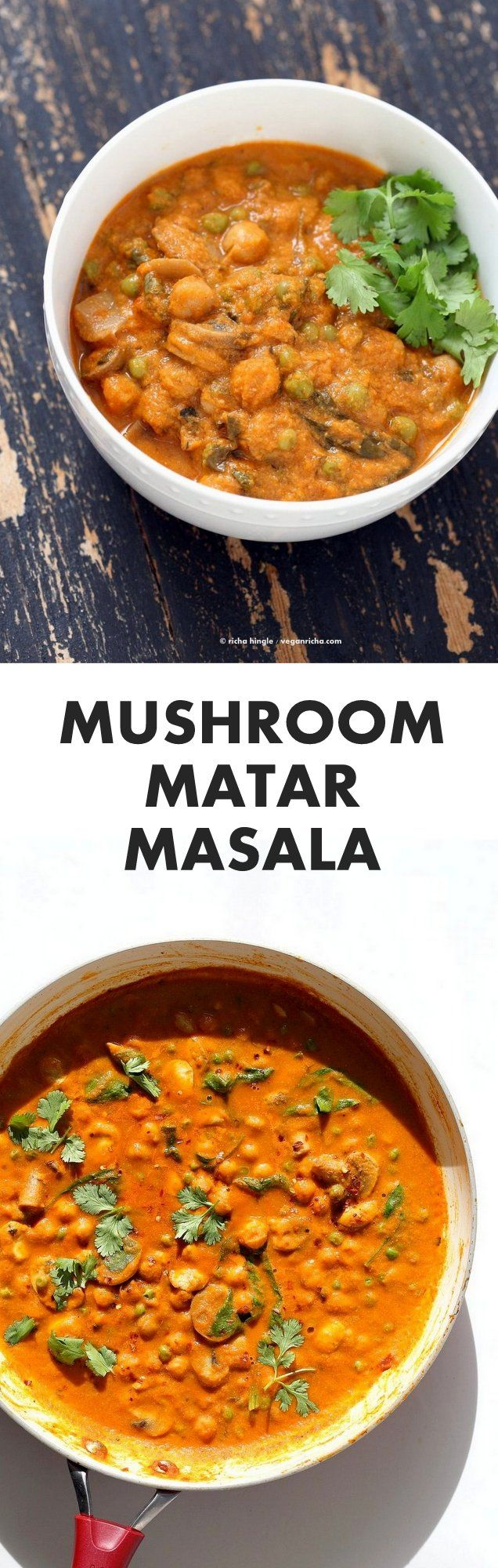 Mushroom Matar Masala. Mushrooms Peas Spinach in creamy tomato sauce. Mushroom Masala Recipe with Easy Masala Sauce. Vegan Indian Gluten-free Soy-free | VeganRicha.com