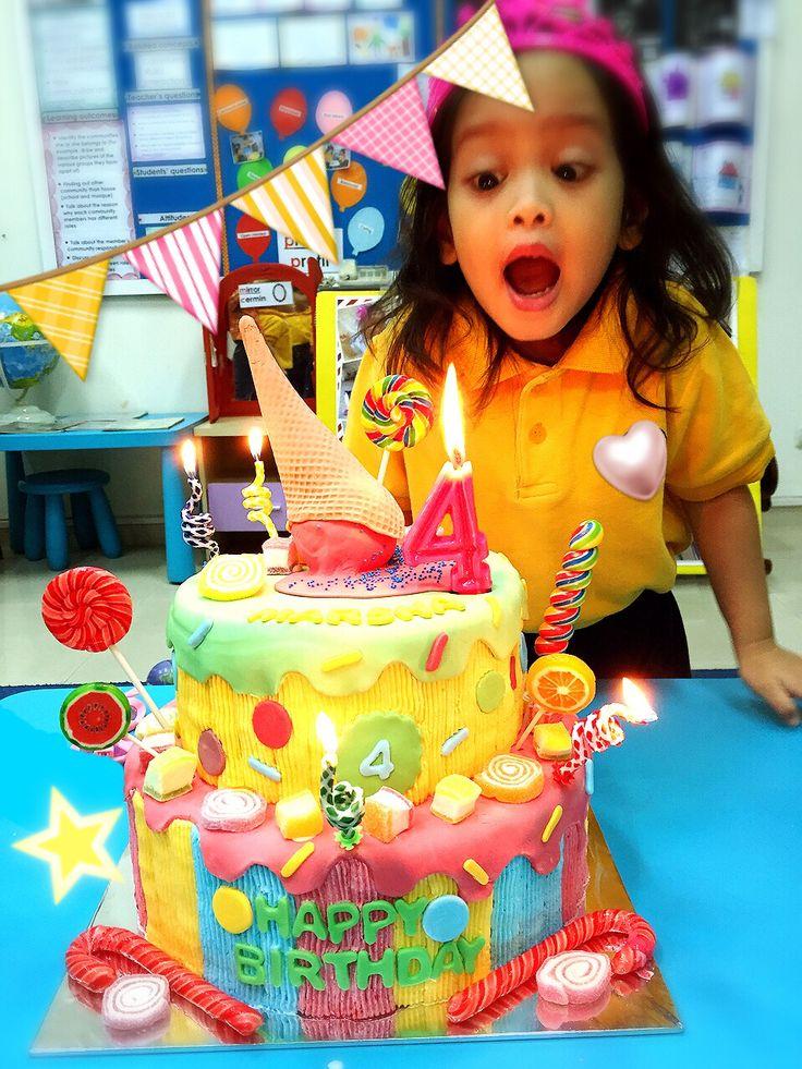 Marsha 4th birthday #diy#candy#sweet#lolipop#birthday#bday#favour#marsha#ryumiru#cake#juicycolorbirthdaycake#candycake#