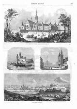 """Częstochowa / Kraków / Warszawa 1863 Poland/Polen [1] """"Vue de Czentochowa Pologn"""