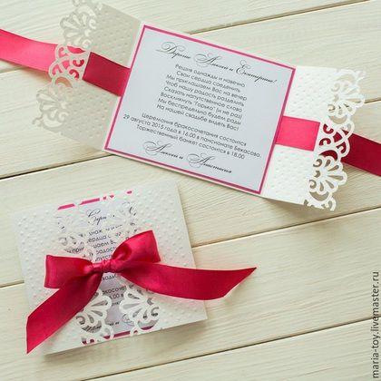 Купить ПРИГЛАШЕНИЕ НА СВАДЬБУ - фуксия, приглашения на свадьбу, пригласительные, приглашение, приглашения ручной работы
