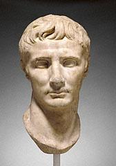 "25-01 BC Roman marble portrait head of Emperor Augustus; 15 3/8""; Getty  78.AA.261"