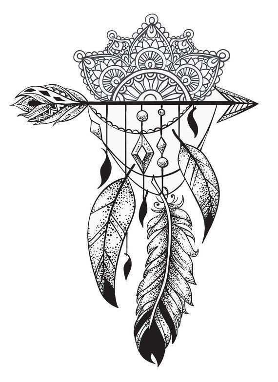 Tatuajes temporal mandala y plumas por TattooLifeStyle en Etsy