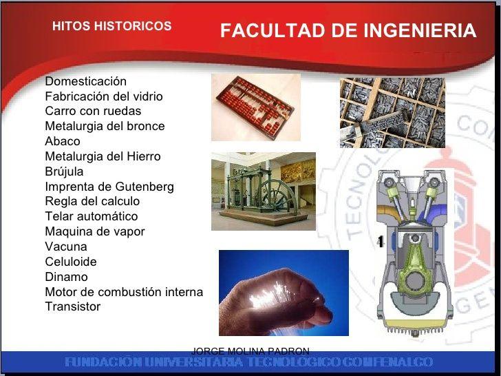 FACULTAD DE INGENIERIA HITOS HISTORICOS Domesticación Fabricación del vidrio Carro con ruedas Metalurgia del bronce Abaco ...