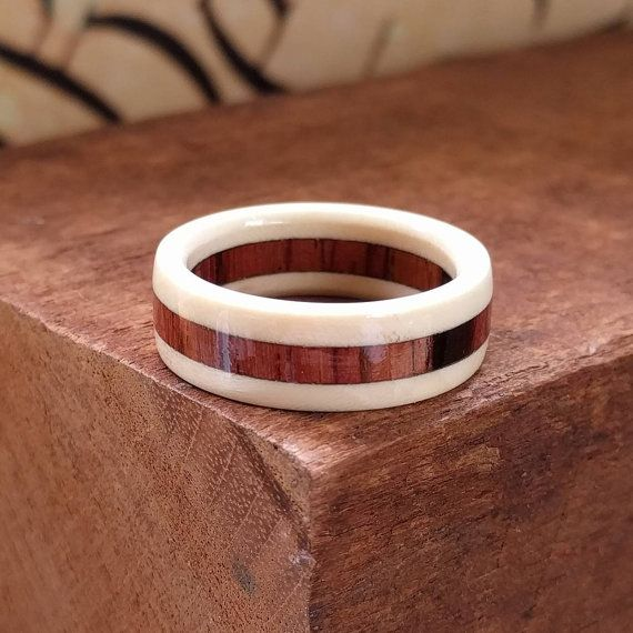 Wooden Ring - Wedding Ring - Rosewood - Men's Wooden Rings -  Wooden Promise Ring  - Woman's  wood rings - American Holly - Burmese Rosewood