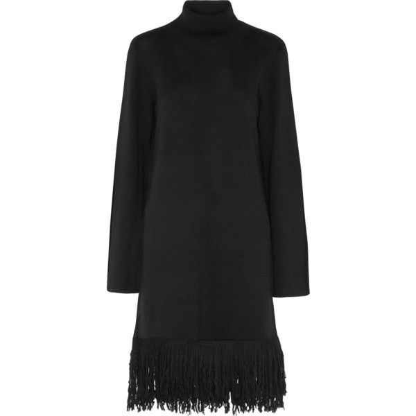 IRIS AND INK   Valentina fringed wool-blend sweater dress (12.865 RUB) ❤ liked on Polyvore featuring dresses, fringe sweater dress, fringe dress, turtle neck dress, turtleneck top and sweater dresses