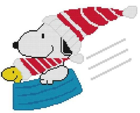 Cross Stitch Knit Crochet Plastic Canvas Waste Canvas Rug Hooking Pattern Wheeeeeeeeeeeee!  Snoopy and Woodstock love to sled in Snoopy's dog dish!  https://www.pinterest.com/resparkled/