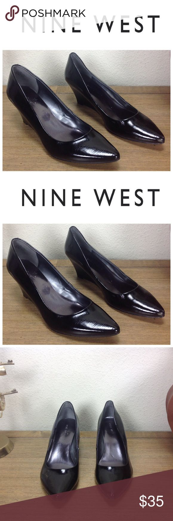 Nine West Black Embossed Patent Leather Wedges Black embossed patent leather pointed wedges that are perfect for any occasion.  Wedge provides comfort and stability that make these shoes great for all day comfort.  In excellent condition with no visible scratches or marks.  Thanks for your interest!  Please checkout the rest of my closet. Nine West Shoes Wedges