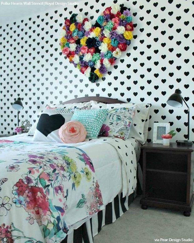 Modern Girls Room Decor Heart Wallpaper Wall Stencils - Royal Design  StudioGirls Bedroom Decor | Home Decor | Girls Bedroom Ideas | House Ideas  | Girls Room ...