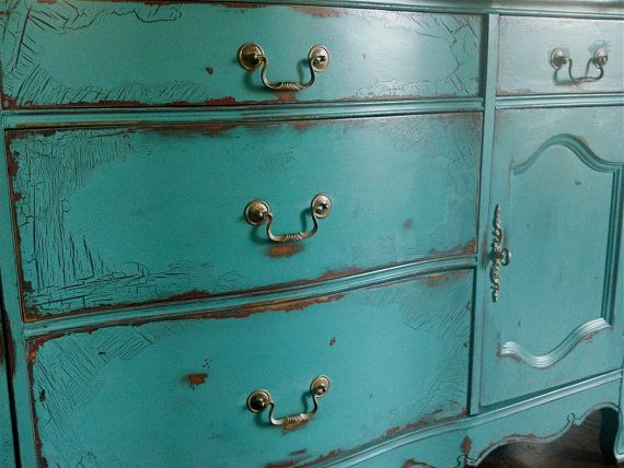 French Provincial buffet in an antiqued teal green by Artisan8, $795.00