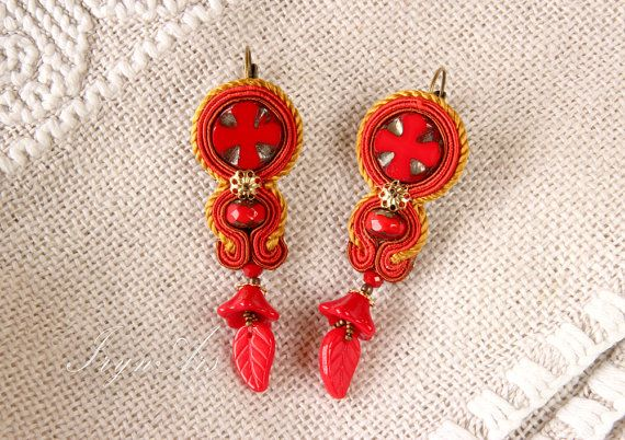 "Soutache earrings ""Red Middle Ages"". Soutache Handmade jewelry. €37"