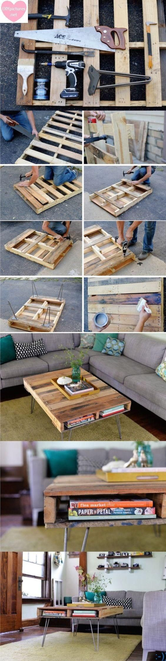 DIY Coffee Table Projects We will make it coffee table today with together. We need these items for make it coffee table Project; one handsaw, one hammer, one jimmy, one electric drill and twenty pieces wooden. Then we will pieces together. That's easy, ha? If we can use coffee table, if we can use like bookshelf. You can use anyway you like body. Congratulations. source