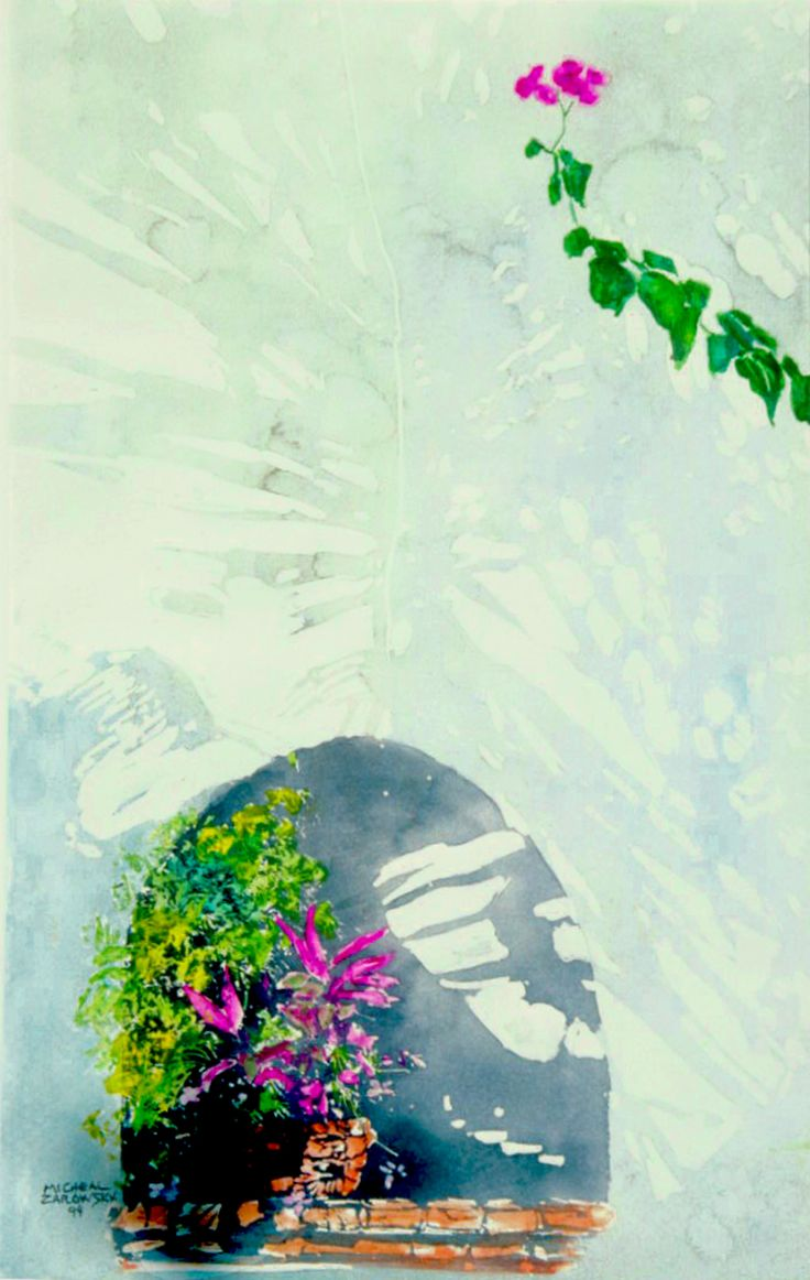 "puerto vallarta - flower arch window - micheal zarowsky - watercolour on arches paper 22"" x 14"""