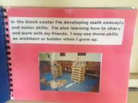 "Create a take home book of kids at centers with captions saying, ""it looks like I'm playing blocks, but I'm developing motor skills, math concepts (number, size, shape, space), oral language, ect."