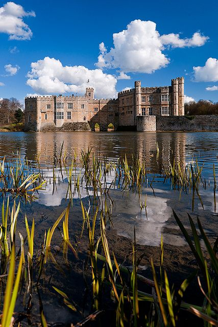 Leeds Castle is in Kent, England, 5 miles southeast of Maidstone. A castle has been on the site since 1119. In the 13th century it came into the hands of King Edward I, in the 16th century, Henry VIII used it as a residence for his first wife, Catherine of Aragon.