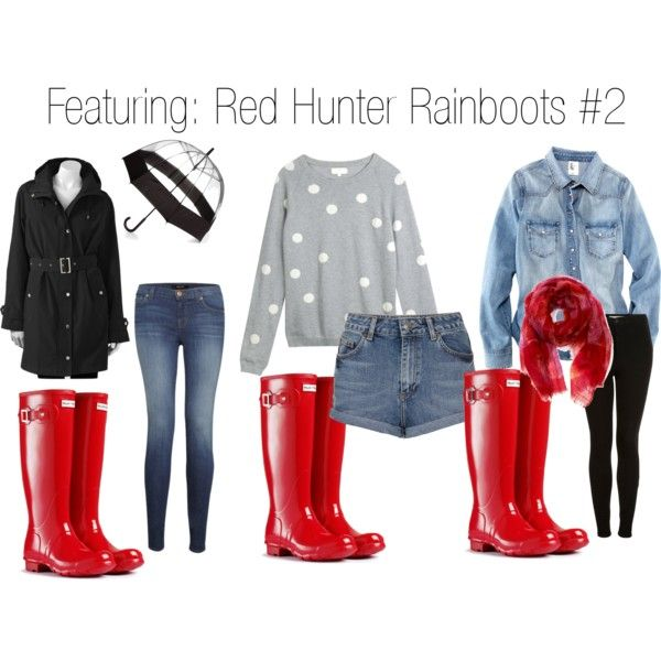 """Outfits with red Hunter Rainboots #2"" by elspired on Polyvore"