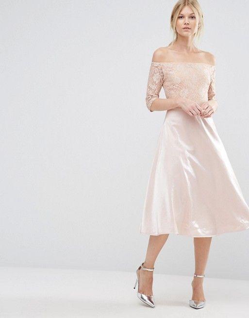 ce776fbd0105 True Decadence Petite – Midi-Spitzenballkleid im Bardot-Stil auf ASOS  shoppen. Mode Online entdecken.