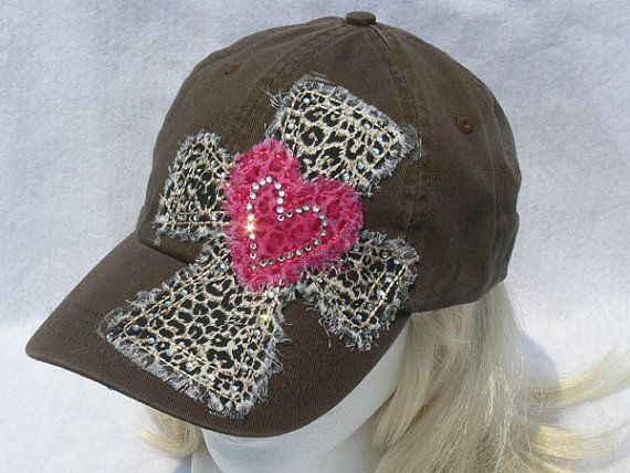 Bling cross Baseball Caps | Cross and Heart Rhinestone Accented Hat by sweetpeasandsunshine