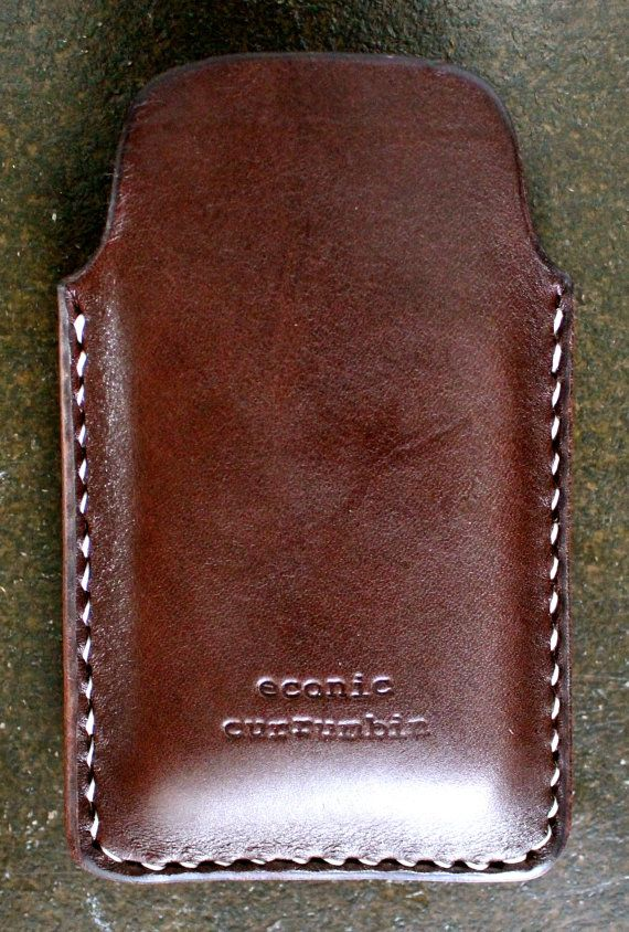 iPhone 5 case/sleeve leather dark brown by econiccurrumbin on Etsy