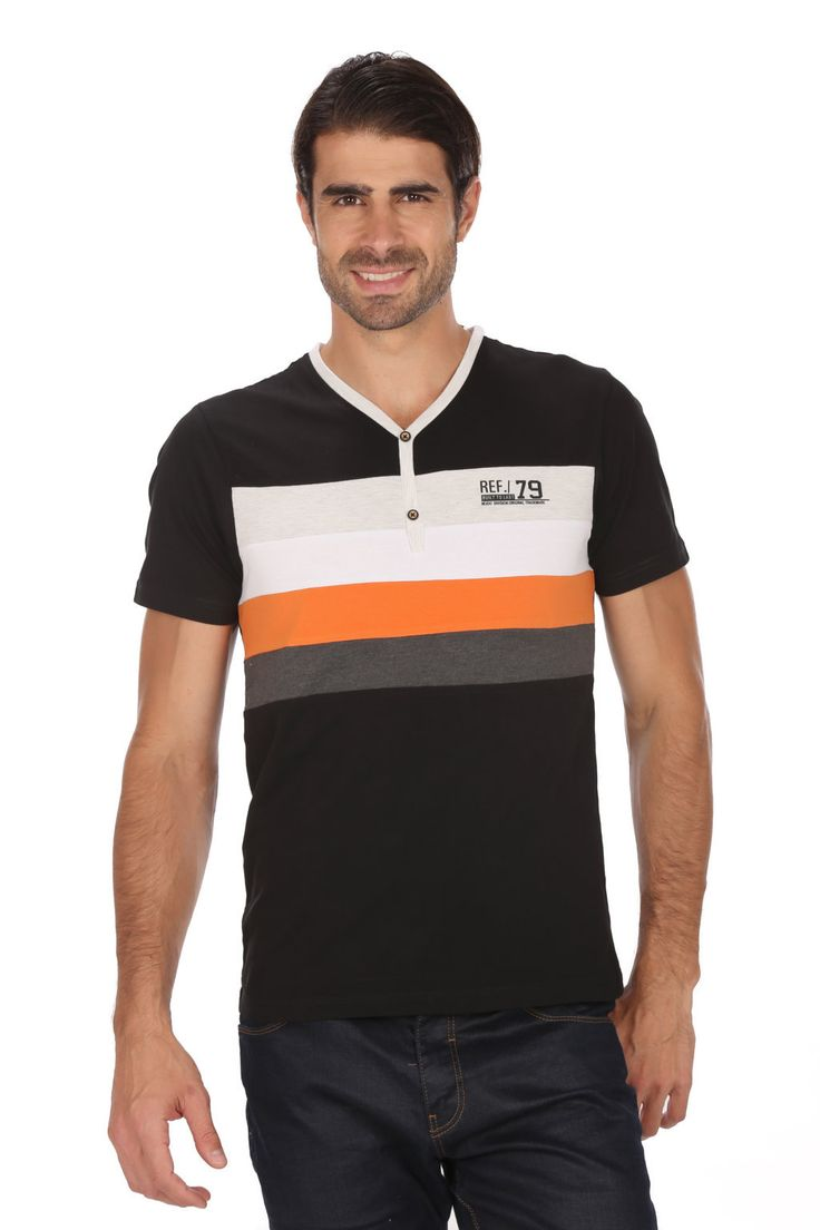 MUDO Fashion Henley Tee with striped art on chest