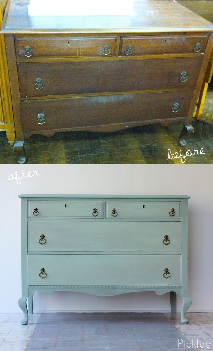 Queen Anne keyhole dresser, before & after using CeCe Caldwell chalk+ clay paints!