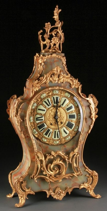 FRENCH LOUIS XV STYLE GILT BRONZE AND ONYX CLOCK