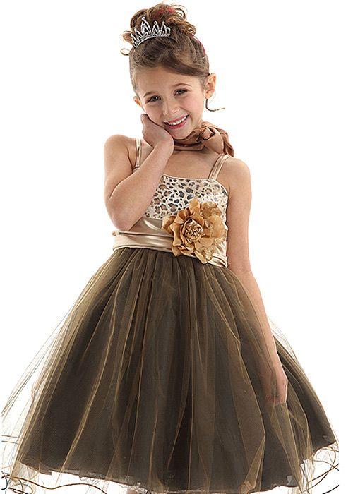 leopard print mesh flower girl dress...how cute!