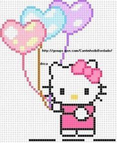 Hello Kitty hearts hama perler beads pattern