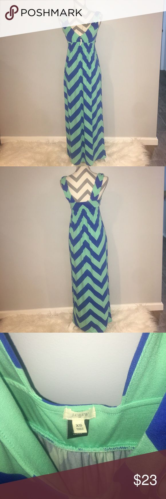 J. Crew Factory Chevron Maxi Dress EUC blue/turquoise chevron maxi dress!! Cute and super comfy! J. Crew Factory Dresses Maxi