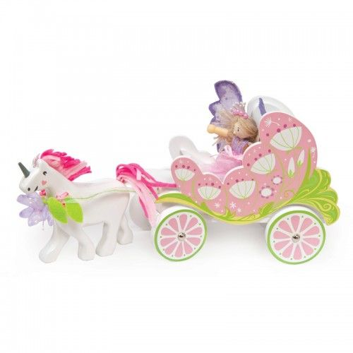 """Fairybelle Carriage & Unicorn   Off to the ball we go! A delightful painted wooden fairy carriage complete with a detachable unicorn & Budkin Fairy """"Fleur""""."""