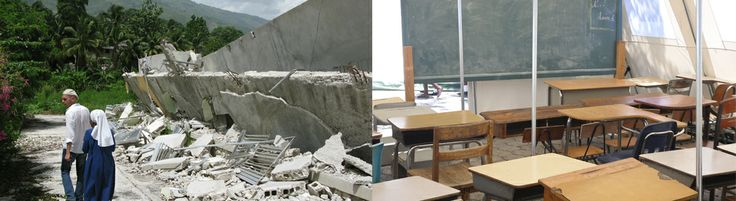 Site impact post-earthquake and tent classroom