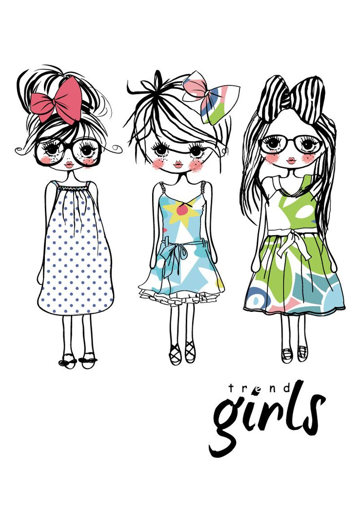 Cute Hand-painted Girl Vector Material   Lazy Drawing
