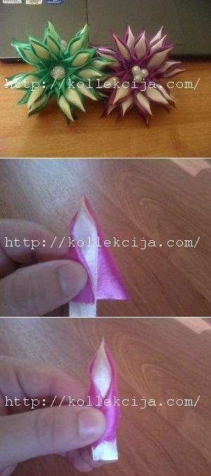 Канзаши двойной острый лепесток | Своими руками — интернет журнал