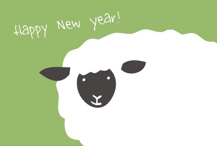 sheep//年賀素材館/年賀状テンプレート「未(ひつじ)」羊のアップ3