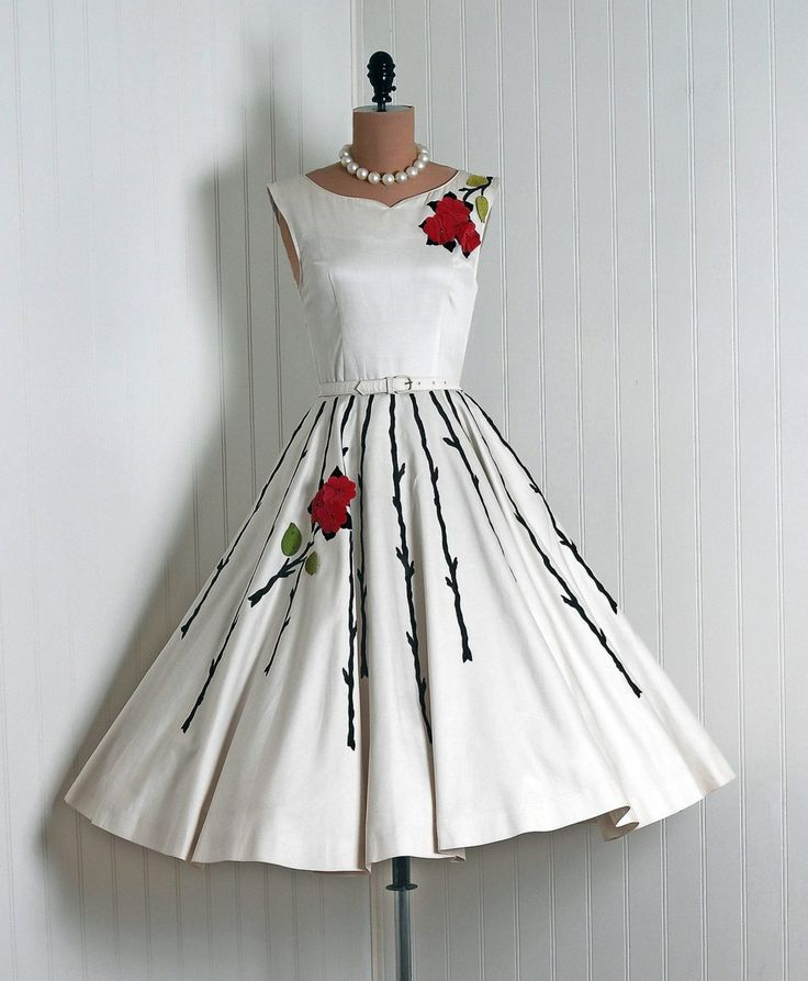 1950's Style Print And Applique, Full Circle Skirt Couture Dress.