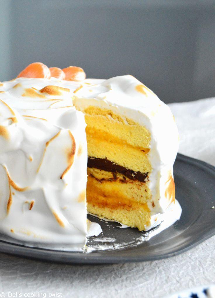 Outrageous Chocolate-Mandarin Meringue Cake