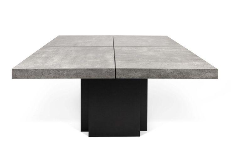 """Dusk 59"""" Dining Table Faux Concrete / Pure Black"""