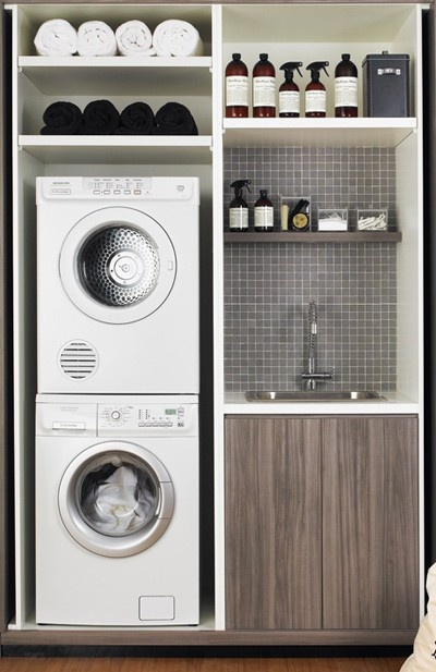 My mom always said she wished she had a washer and dryer in the bathroom. So why not dream big? :)
