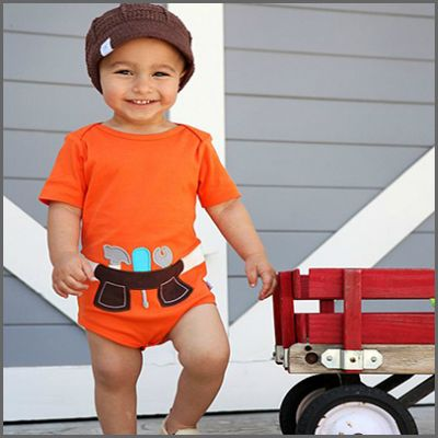 Orange Tool Belt One-Piece. There is nothing cuter than your little helper, so now he can show the world that he is both handsome and handy ... the perfect combination! This adorable body suit features an easy on/off lap style neck and three bottom snaps to make nappy changes a breeze. Made of 100% soft & stretchy cotton, it's also machine washable.