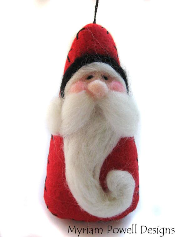 Santa Ornament - Christmas Ornament - Needle Felted Santa. $14.40, via Etsy.