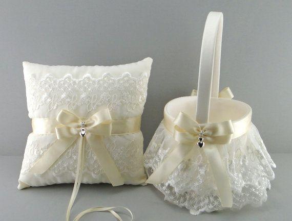 Ivory on Ivory Wedding Bridal Flower Girl Basket by evertonbridal