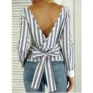 Striped Open Back Bowknot Blouse