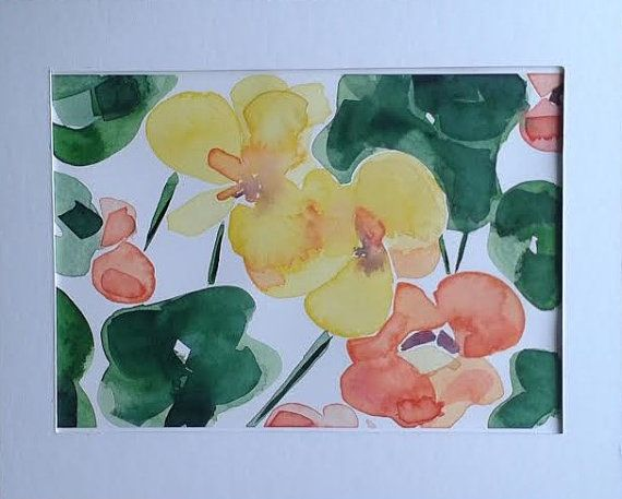 Nasturtium watercolour painting by Vicky Curtin by MyCoveArt