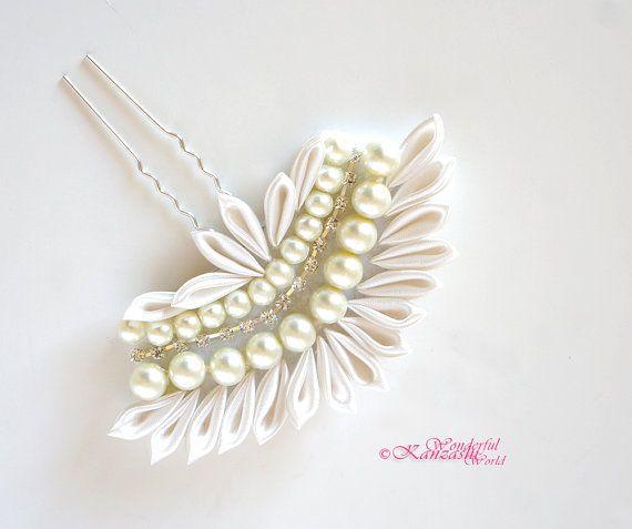 White Cream and Beads Tsumami Kanzashi Wedding Fork Pin Bridal Bridesmaids Flower Girls Hair Accessories