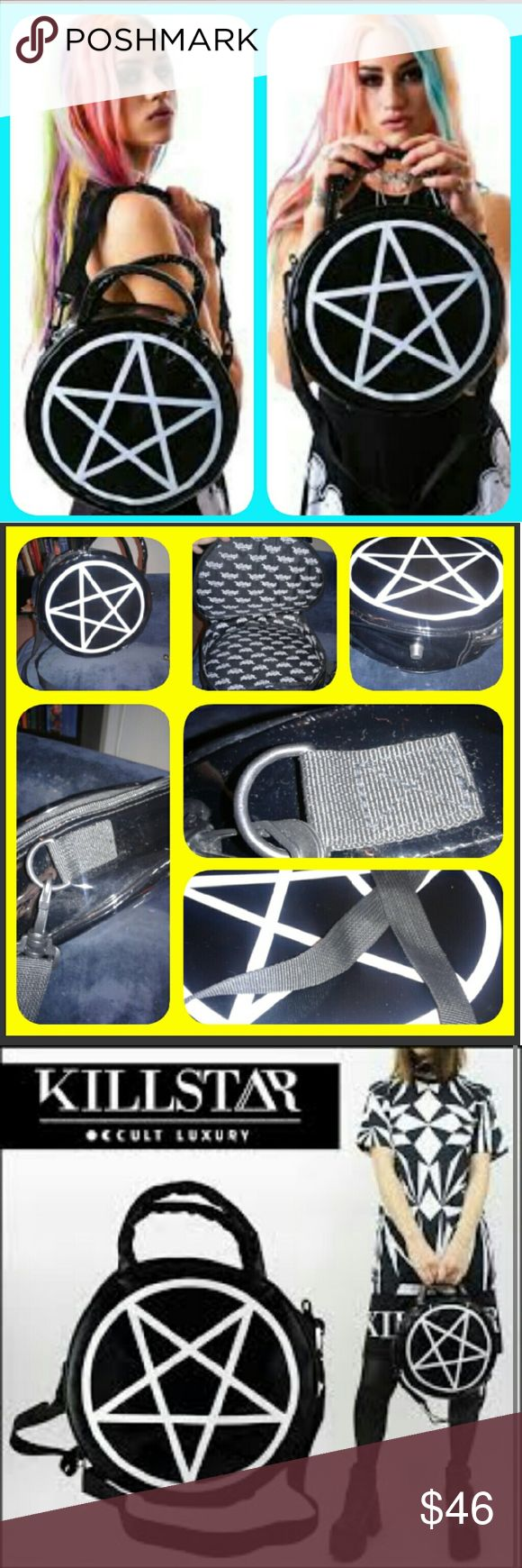 Bad Ass SOLD OUT everywhere killstar pentigram bag This thing is bad Ass!!it's sold out online carried twice only lining is perfect ,zippers are perfect,can carry with the shoulder strap or carry by handles for a more Lolita goth look...* note one small flaw one of the handles is a going slightly undone it can be hand stiches i did not do it because I did not want to affect the bag in any way..no other flaws tears or anything *No swap on this item** note my bag has a two point star that's…