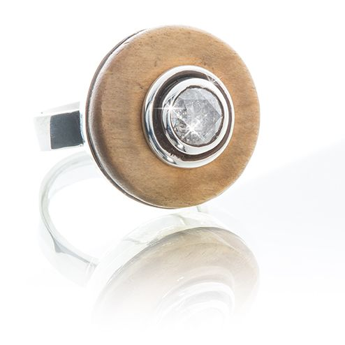 Handmade wood, silver & 1.4 ct diamond ring.  www.houseofauri.com/auri-afrik/silver-ring-with-1-4ct-diamond-and-wood.html