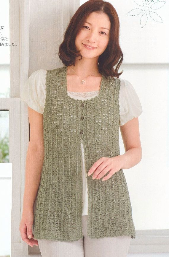 Free Shipping Woman Crochet Vest Top PDF Pattern  by DotsStripes, $2.50