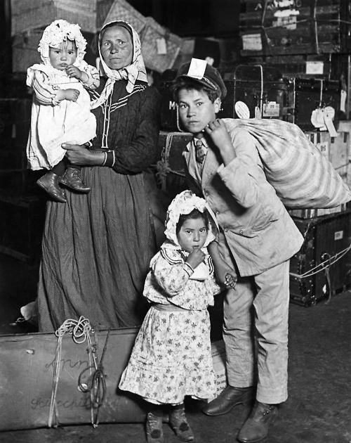 Italian Immigrants Arriving at Ellis Island, New York, 1905 - Lewis Hine