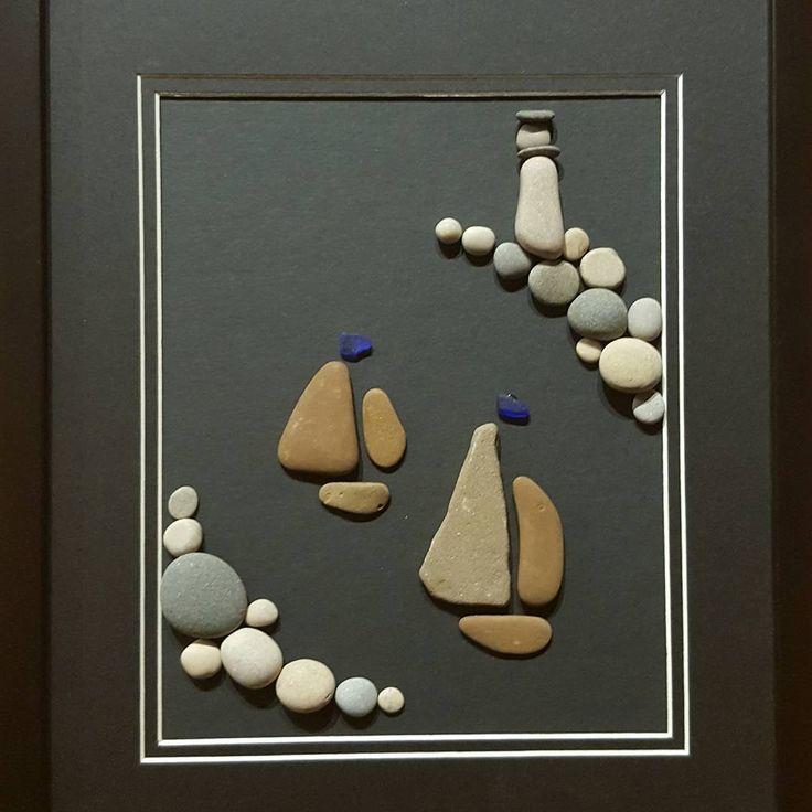 Sailing in the starlight. Lake Michigan pebble art. #night #lakemichigan #art #pebbles #lighthouse  #sailing  #sailingboat #beachglass #seaglass